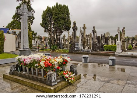 DUBLIN, IRELAND - APR 23: Grave of the Irish revolutionary leader Michael Collins, at the Glasnevin Cemetery, on April 23, 2009, Dublin, Ireland. - stock photo