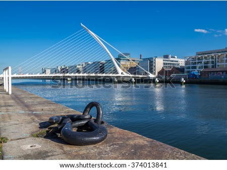 DUBLIN, IRELAND - 14 APRIL 2015: Samuel Beckett Bridge crossing the River Liffey in Dublin, Ireland