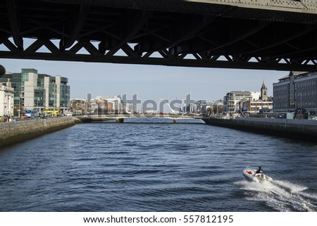 Dublin, Ireland - April 8, 2015. View of River Liffey and the city of Dublin in Ireland.
