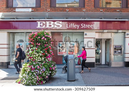 DUBLIN, IRELAND - AUGUST 13, 2015: A branch of EBS. It was established in 1935 to help teachers buy their homes and became Irelands biggest building society. In 2011 it was taken over by AIB Bank.