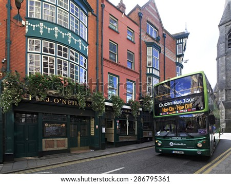 Dublin, Ireland - August 19, 2014: Sightseeing bus for tourists in the center of Dublin.