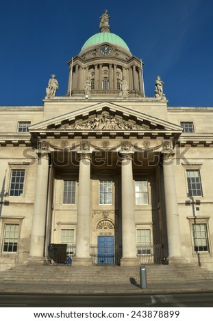 DUBLIN, IRELAND - DECEMBER 30: The Custom House at Dublin city's quays on December 30, 2014 in Dublin, Ireland. The building is used by the Department of the Environment.