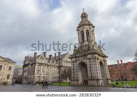 DUBLIN, IRELAND - FEB 15, 2014: View on the courtyard and Bell Tower of the Trinity College campus in Dublin, Ireland. - stock photo