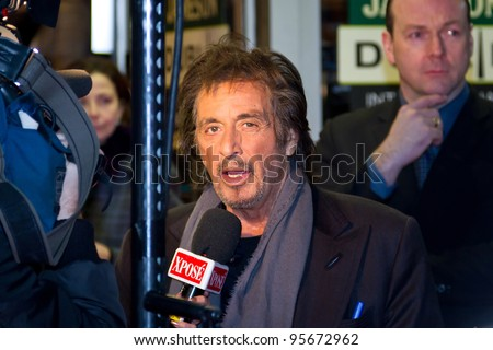 DUBLIN, IRELAND - FEBRUARY 20: Al Pacino interviewed at premiere of his Wilde Salome movie at Jameson Dublin International Film Festival in Savoy Cinema on February 20, 2012 Dublin, Ireland - stock photo
