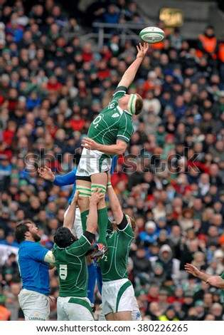 DUBLIN, IRELAND-FEBRUARY 02, 2008: rugby players in action during the Six Nations rugby match Ireland vs Italy, at the Croke Park stadium, in Dublin. - stock photo