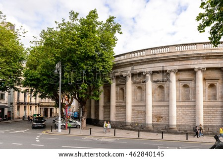 DUBLIN, IRELAND - JULY 12, 2016: Architecture of Dublin, the capital and largest city of Ireland.
