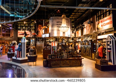 DUBLIN, IRELAND - JULY 12, 2016: Guinness museum in Dublin. Guinness is an Irish dry stout produced by Diageo originated in the brewery of Arthur Guinness
