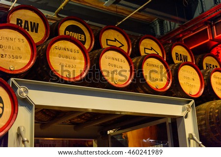 DUBLIN, IRELAND - JULY 12, 2016: Interior of the Guinness museum in Dublin. Guinness is an Irish dry stout produced by Diageo originated in the brewery of Arthur Guinness