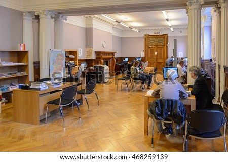 DUBLIN, IRELAND - JULY 12, 2016: Interior of the National Library of Ireland. The building was designed by Thomas Newenham Deane