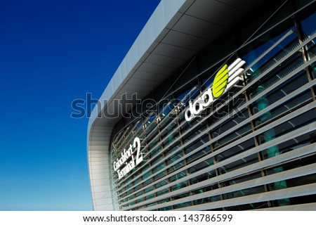 DUBLIN, IRELAND - JUN 5: New Terminal 2, Dublin Airport on Jun 5, 2013 in Dublin, Ireland. Opened in November 2010, is host to the European and the big international carriers to the USA and Midd East - stock photo