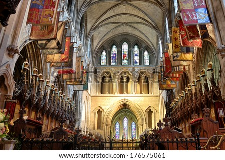 DUBLIN, IRELAND - JUN 19: Saint Patrick's Cathedral in Dublin, founded in 1191, is the larger of Dublin's two Church of Ireland cathedrals. On June 19, 2009, Dublin, Ireland. - stock photo