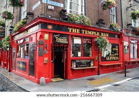 Dublin, Ireland - June 16, 2012: Famous pub in the Temple Bar district in Dublin, Ireland. - stock photo