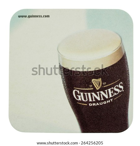 DUBLIN, IRELAND - MARCH 15, 2015: Beermat of Irish beer Guinness isolated over white background - stock photo