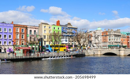 DUBLIN, IRELAND - MARCH 29, 2013: View of Dublin quays along the river Liffey. - stock photo