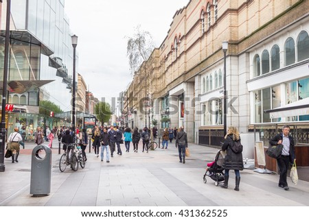 DUBLIN, IRELAND - 07 MAY, 2016: People walking on the Grafton Street. The main shopping street in the city is one of the most expensive in the world.