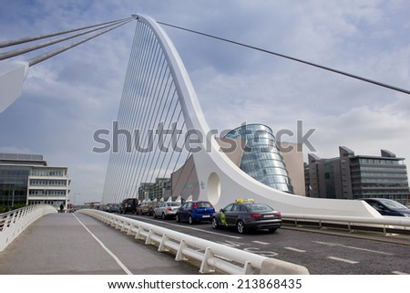 DUBLIN, IRELAND - MAY 15: Samuel Beckett Bridge by architect Santiago Calatrava on May 15, 2014 in Dublin, Ireland - stock photo