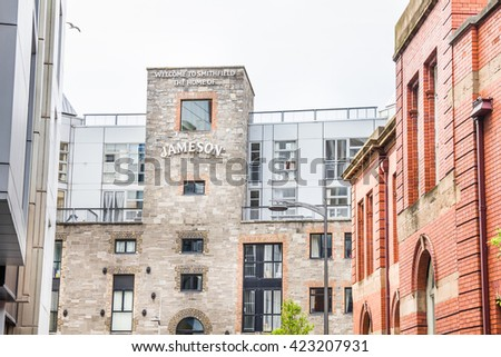 DUBLIN, IRELAND - May 6, 2016: View of the Old Jameson Distillery. The famous attraction, located in the Bow Street, exists since 1997 and has guided tours, bars, a restaurants and stores.