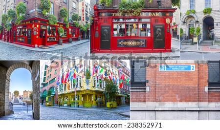 Dublin, Ireland - Oct 25, 2014: Collage of different landmarks around tample bar in Dublin, Ireland on October 25, 2014