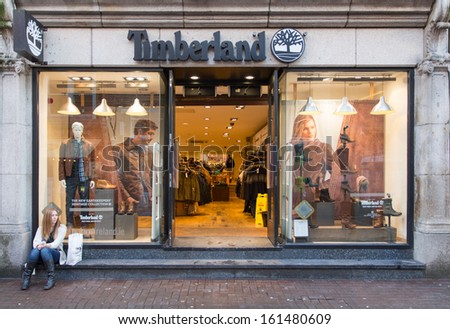 DUBLIN, IRELAND Â?Â? OCTOBER 25 : A Timberland store, Dublin, Ireland, 25 October 2013. It sells boots, shoes, clothes in own stores and retailers with 5,600 employees and 2010 revenue of $1.4 billion.