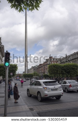 Dublin, Ireland - October 24, 2012: The Spire monument in the city center of Dublin, Ireland