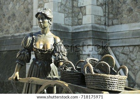 DUBLIN, IRELAND - SEPTEMBER 5, 2017: the Molly Malone Statue on August 5, 2017 in Suffolk Street, Dublin