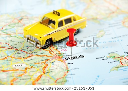 Dublin Ireland  ,United Kingdom  map taxi  car   and  pin - Travel concept - stock photo