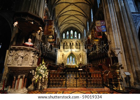 DUBLIN - JULY 30: Sermon being read at St. Patrick's Cathedral July 30, 2010 in Dublin, Ireland. - stock photo
