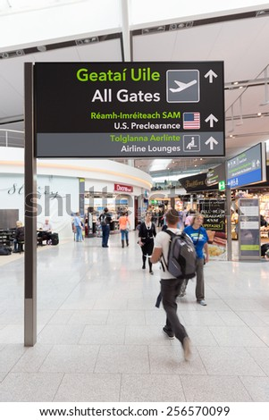 DUBLIN - 19 JULY, 2014: United States preclearance directions in Dublin Airport Terminal 2. - stock photo