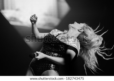 Dublin-March 1st -Ellie Goulding performs live at the O2 on March 1st 2014 in Dublin,Ireland