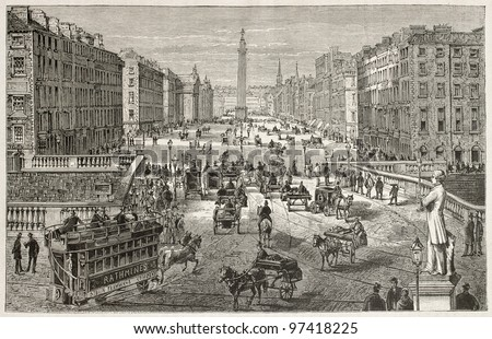 Dublin old view. Created by Sellier, published on Magasin Pittoresque, Paris, 1882