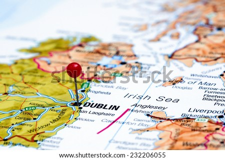 Dublin pinned on a map of europe  - stock photo