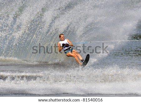 DUBNA, MOSCOW REGION/RUSSIA – JULY 23: Edeback Hanna (Sweden), Waterski World Championship, Ladies Slalom Final on July 23, 2011 in Dubna, Russia.