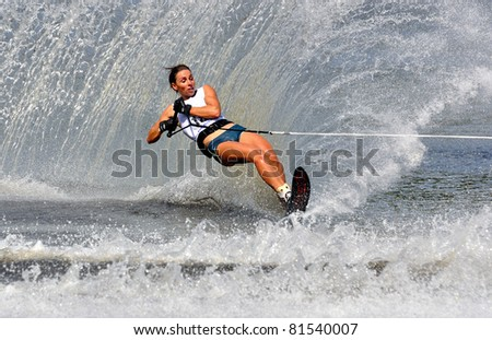 DUBNA, MOSCOW REGION/RUSSIA – JULY 23: Mathieu Marion (France), Waterski World Championship, Ladies Slalom Final on July 23, 2011 in Dubna, Russia.