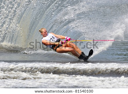DUBNA, MOSCOW REGION/RUSSIA – JULY 23: Mcclintock Whitney (Canada), Gold medal winner, Waterski World Championship, Ladies Slalom Final on July 23, 2011 in Dubna, Russia.