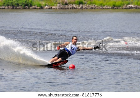 DUBNA, MOSCOW REGION/RUSSIA – JULY 24: Parsons Nick (USA), Waterski World Championship, Men Slalom Final on July 24, 2011 in Dubna, Russia.