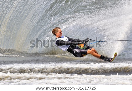 DUBNA, MOSCOW REGION/RUSSIA – JULY 24: Smith Nate (USA), Bronze medal winner, Waterski World Championship, Men Slalom Final on July 24, 2011 in Dubna, Russia.