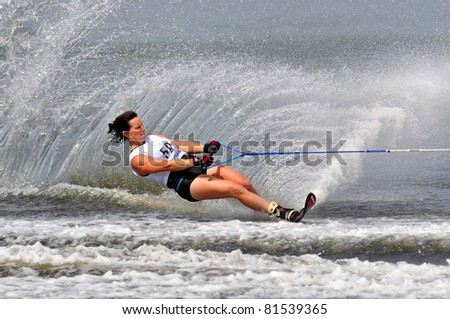 DUBNA, MOSCOW REGION/RUSSIA – JULY 23: Truelove Karen (USA), Waterski World Championship, Ladies Slalom Final on July 23, 2011 in Dubna, Russia.