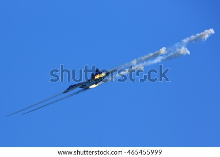 DUBROVICHI, RYAZAN, RUSSIA - AUGUST 6, 2016: Sukhoi Su-35S RF-95245 (NATO code name: Flanker) multifunctional jet fighter of russian air force firing missiles at Dubrovichi shooting range.