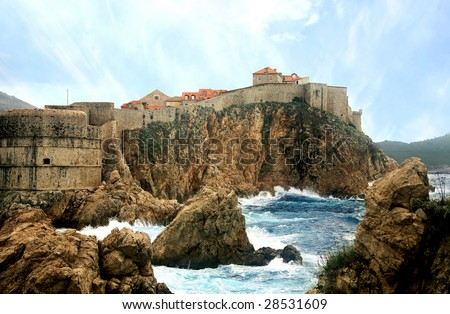 Dubrovnik - commercial city fortress, unconquer. As the Phoenix it revived after all cataclysms: plague, earthquakes, frequent wars. Croatia, Dalmatia. - stock photo