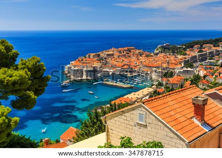 Dubrovnik Croatia. A panoramic view of the walled city.  - stock photo