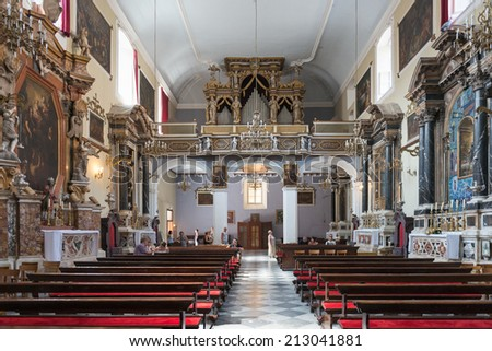 Interior Roman Catholic Santa Lucia Church Stock Photo