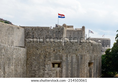 DUBROVNIK, CROATIA - AUG 21, 2014: Unidentified people in Dubrovnik, Croatia. Dubrovnik is one of the most popular touristic destinations in the Mediterranean