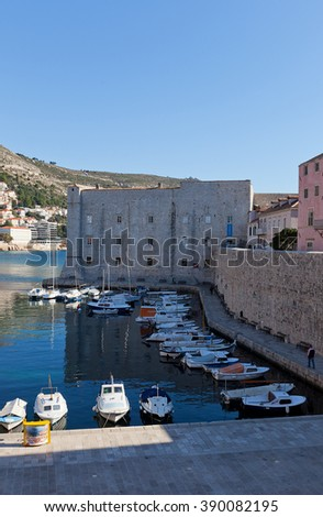 DUBROVNIK, CROATIA - JANUARY 20, 2016: St John Fortress (Mulo Tower, circa 14th c.) of Dubrovnik (UNESCO site), Croatia. Protected Old Port, today hosts aquarium, ethnographic and a maritime museums