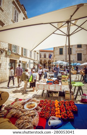 DUBROVNIK, CROATIA - MAY 3, 2015: Busy day at Dubrovnik's market. On 3 May 2015 in Dubrovnik, Croatia. - stock photo