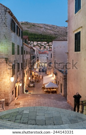 DUBROVNIK, CROATIA - OCTOBER 10, 2009: Jesuits staircase at night. It is the grand staircase that leads from Gundulic Square to the square in front of Collegium Ragusinum and St. Ignatius Church.