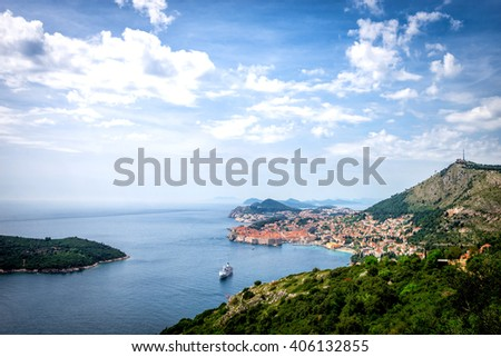 Dubrovnik, Croatia - Panorama of old town and harbor - stock photo