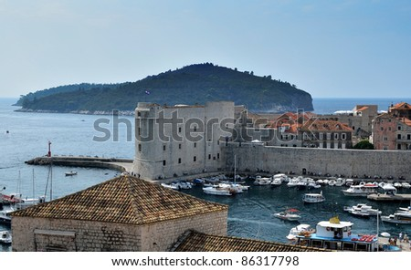 Dubrovnik - Croatia. Series of Views of the sea, roof, fortress and boats in the harbour.