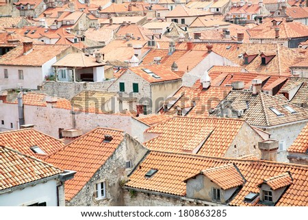 Dubrovnik, Croatia. Tiled rooftops of old town. - stock photo