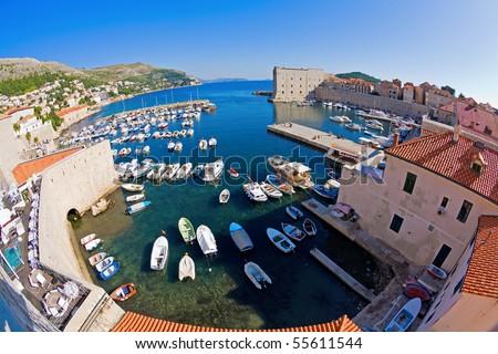 Dubrovnik harbor and marina - stock photo