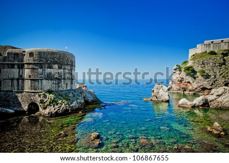 Dubrovnik old city Croatia fortress - stock photo